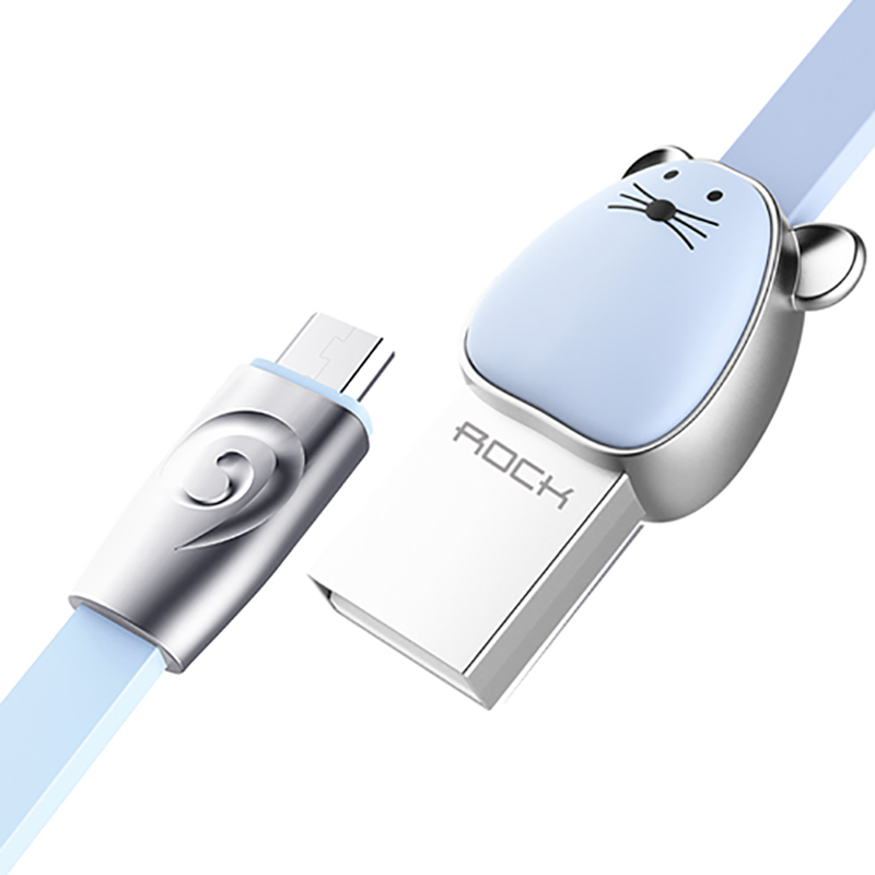 Кабель USB - MicroUSB для зарядки 1 м 2.4A плоский Rock Zodiac Mouse голубой
