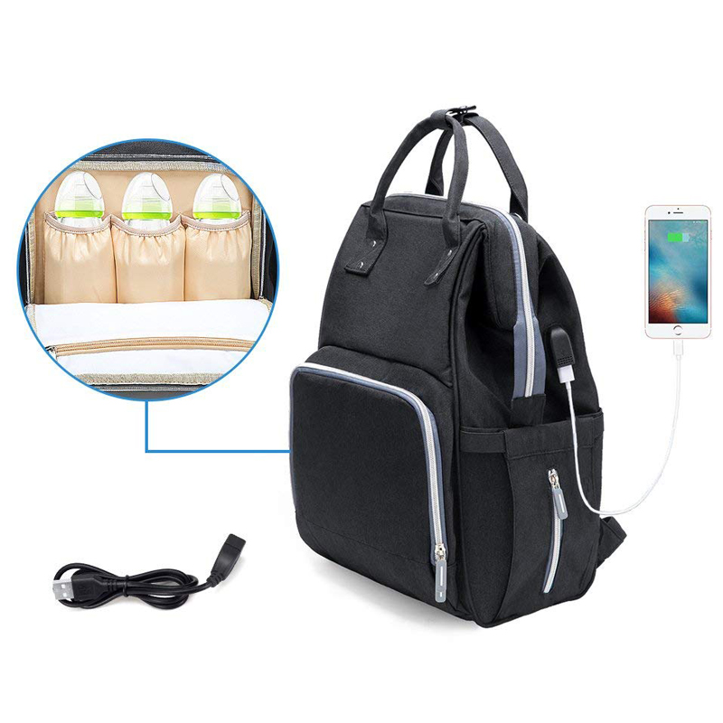 c18b2bb93ffe Рюкзак (сумка) Ankommling LD24 для мамы с отделением для бутылочек и USB- портом черный