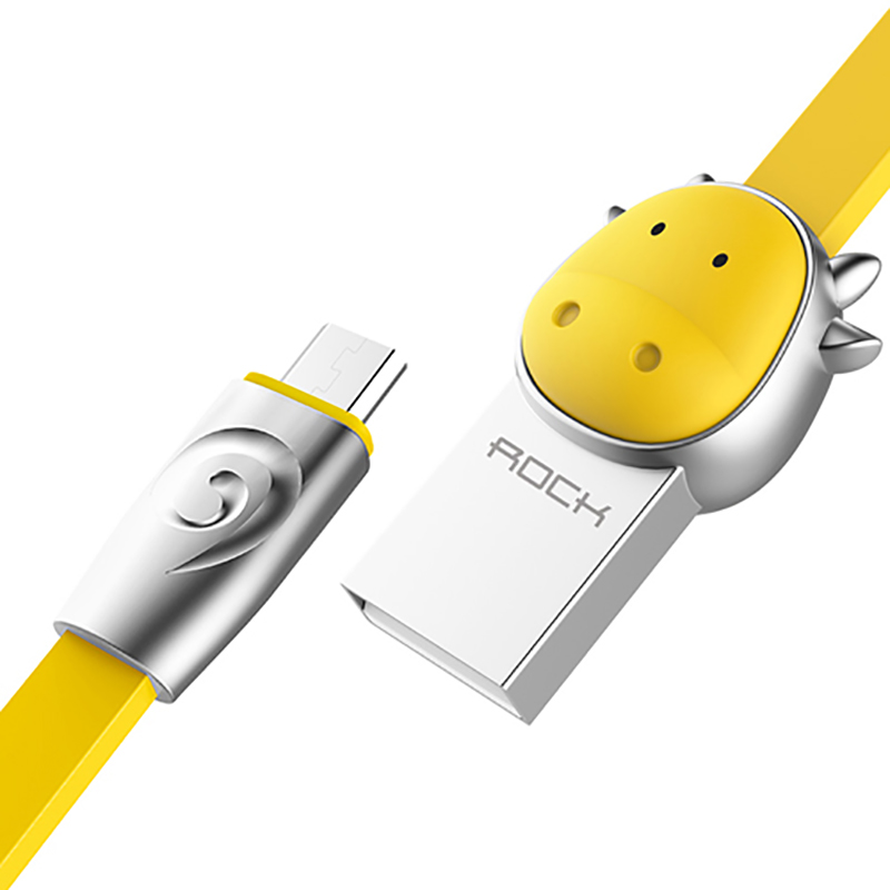 Кабель USB - MicroUSB для зарядки 1 м 2.4A плоский Rock Zodiac Cow желтый