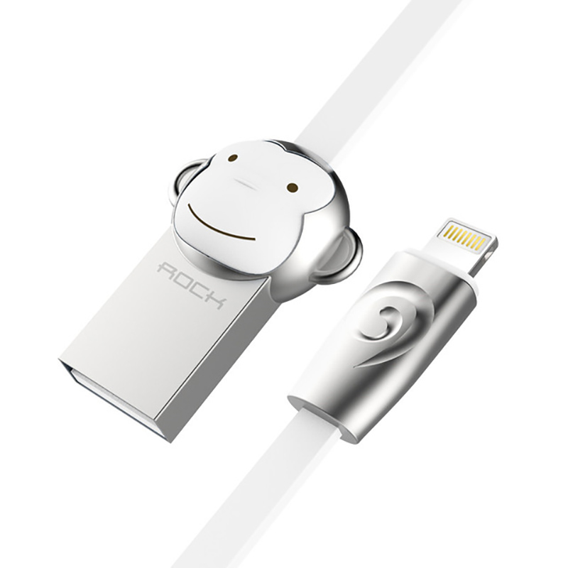 Кабель USB - Lightning для зарядки iPhone 1 м 2.4А плоский Rock Zodiac Monkey белый