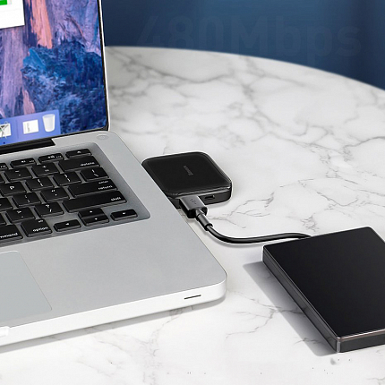 USB 2.0 HUB (разветвитель) на 4 порта Baseus Fully folded с питанием MicroUSB черный