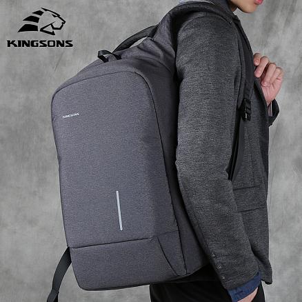 Рюкзак Kingsons Casual с отделением для ноутбука до 15,6 дюйма и USB портом темно-серый